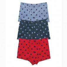 內褲<四角褲三件組>紅藍星星組 3-4Y