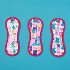 環保布衛生棉-彩繪系列/聚酯纖維款(花色隨機)-26cm(桃)
