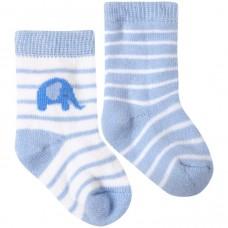 嬰兒襪二件組【粉藍象】0-6M